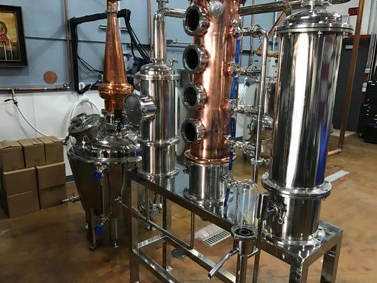 The distilling equipment at Big Fat Pastor Spirits in Loveland.