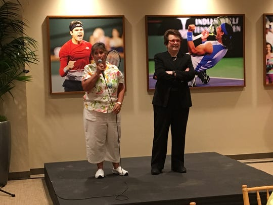 Tennis Hall of Famer Rosie Casals on left and iconic tennis legend Billie Jean King at the annual Annalee Thurston Awards at the BNP Paribas Open. (March 12, 2017)