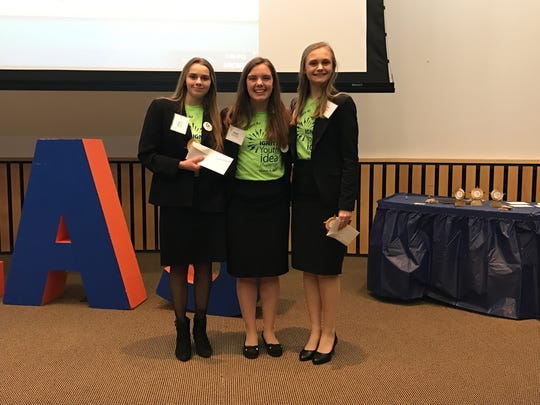 Campbellsport High School's Skratch Snacks took first place at the Second Annual IGNITE! Youth Idea Challenge with a healthy gluten-free snack idea.The team won a $2,000 scholarship. Pictured are, from left are Ashley Bania, Megan Roehl and Janie Hodny.