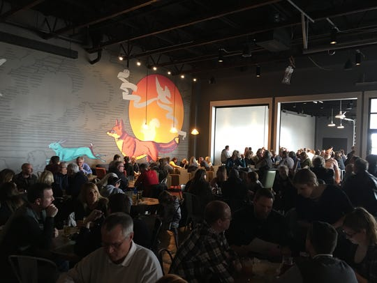 A view from inside a Big Grove Brewery and Taproom