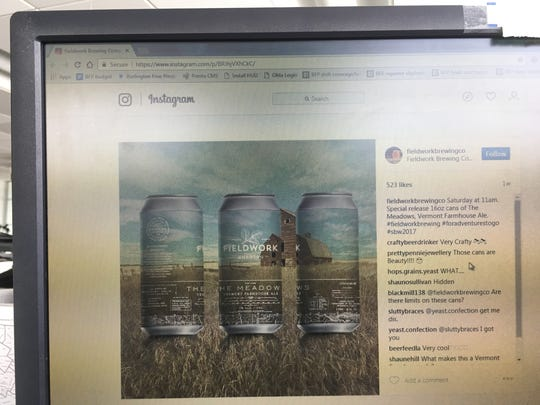 "Fieldwork Brewing Co. in California makes a beer labeled as a ""Vermont Farmhouse Ale."" Cans of the beer, called ""The Meadows,"" is seen on the brewery's Instagram feed."
