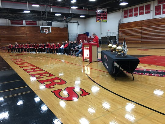 A celebration for the Stevens Point Area Senior High boys basketball team is held in the SPASH Fieldhouse on Sunday, March 19, 2017.