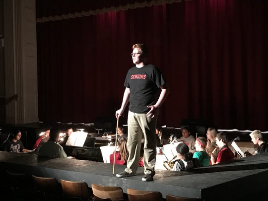 Pompton Lakes High School is presenting Roald Dahl's Willy Wonka March 30, March 31, and April 1. Jake Newton, who is playing the role of Willy Wonka, during a rehearsal of a scene.