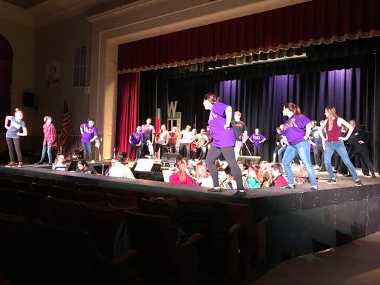Pompton Lakes High School is presenting Roald Dahl's Willy Wonka March 30, March 31, and April 1. Here the cast rehearses a scene from the musical.