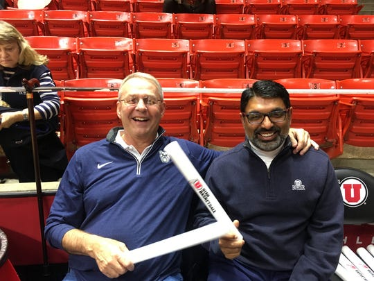 John Seal (left) poses with Butler Board of Trustees member Jay Sandhu before the Bulldogs' game in Utah earlier this season.