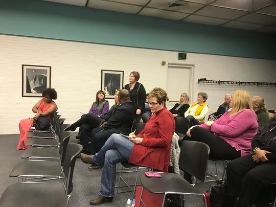 BCPS art teacher Jan Cramer addresses the school board