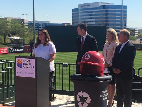 "Elected officials and tourism leaders spoke Tuesday morning at Tempe Diablo Stadium about the positive effects the ""Don't Trash Arizona"" campaign has made in the past 10 years."