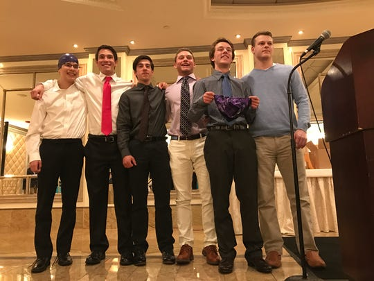 From left, Nate Vele (purple cap), Tommy Damato, Aidan Vella, Kyle Balasny, Connor Olski (with speedo) and Austin Felice.