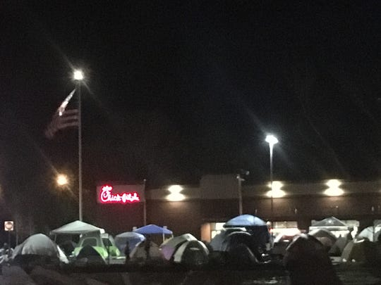 Tents lined the parking lot for the grand opening of Chick-fil-A's newest restaurant on Memorial Boulevard in Murfreesboro.