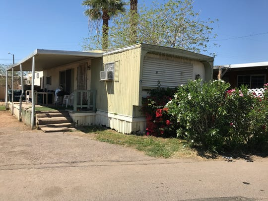 The mobile home where police say a 24-year-old man