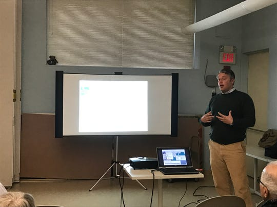 Peter Linderoth, Water Quality Program Manager at non-profit Save the Sound, spoke to Sound Shore residents about how they can help keep water clean. March 24, 2017