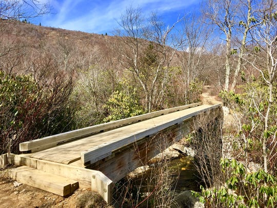 This new bridge is in Graveyard Fields along the Blue