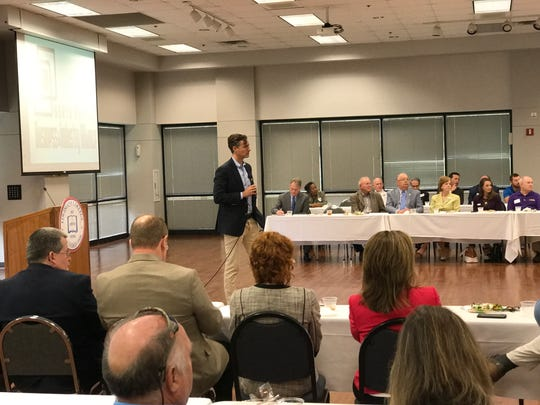 Louisiana Superintendent John White takes questions after speaking Monday at the North Rapides Business & Industry Alliance monthly meeting.