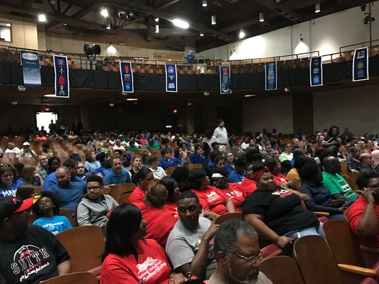 Bolton High School's auditorium was more than half full for the special school board meeting held Tuesday.