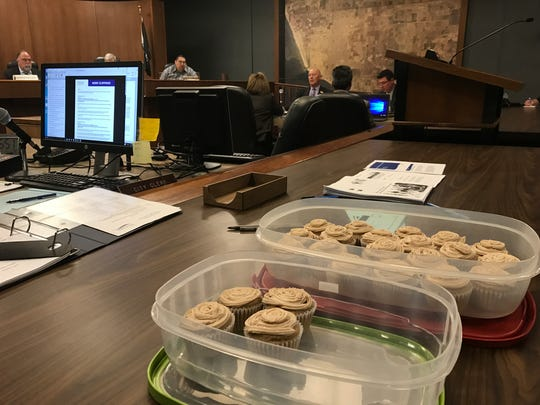 Aaron Starr said these cupcakes mark the one-year anniversary of being served a city lawsuit fighting his wastewater rate repeal.