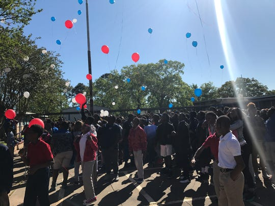 Alexandria Middle Magnet students released balloons