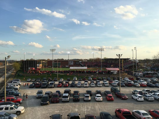 The view of Jim Patterson Stadium from the Brook Street overpass