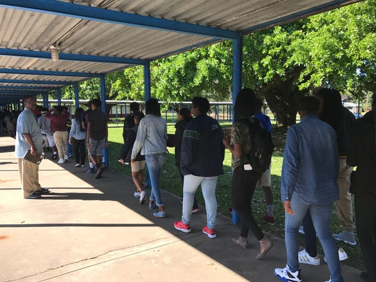 Alexandria Middle Magnet Students walk to class on