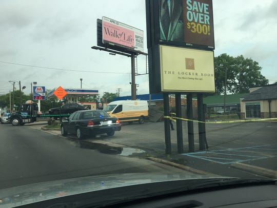 A man was shot outside the Marathon gas station on