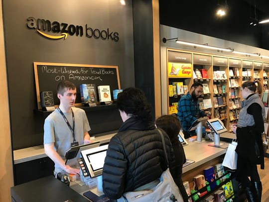 The registers at the Amazon Books store in Dedham,