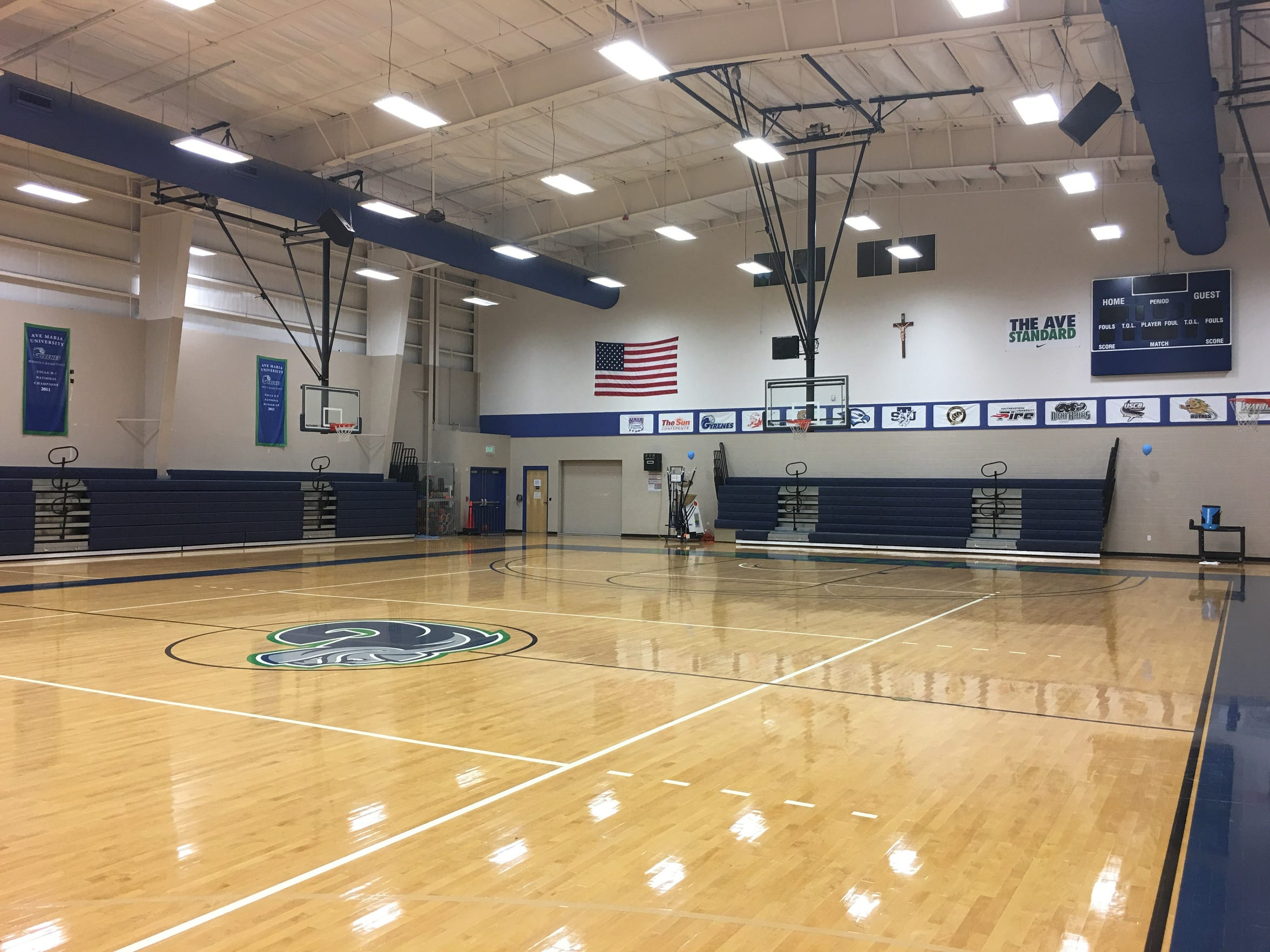 The Tom Golisano Field House at Ave Maria University has capacity for about 1,000.