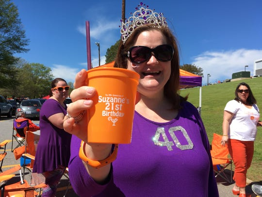 Suzanne Shumway spent her 40th birthday celebrating at a tailgate before Clemson University's 2017 Spring Football game on Saturday.