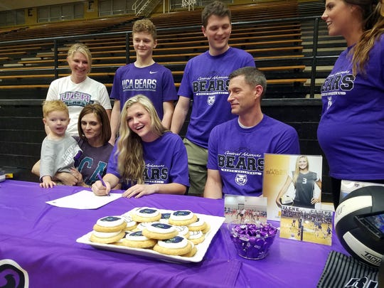 Rider senior Kelsie Sager signed to play beach volleyball at Central Arkasas University on Tuesday in Rider Fieldhouse.