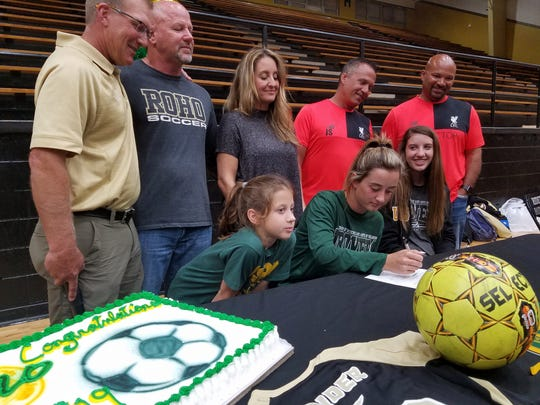 Rider senior Makena Wood signed a letter of intent to play soccer at the University of Science and Arts of Oklahoma.