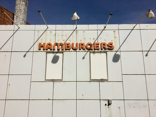 A closed hamburger stand that formerly served as a