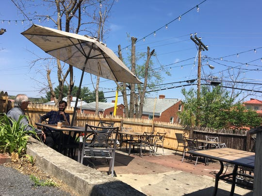The patio outside of the Farmhaus on Main, a coffee shop and cafe in Waynesboro.