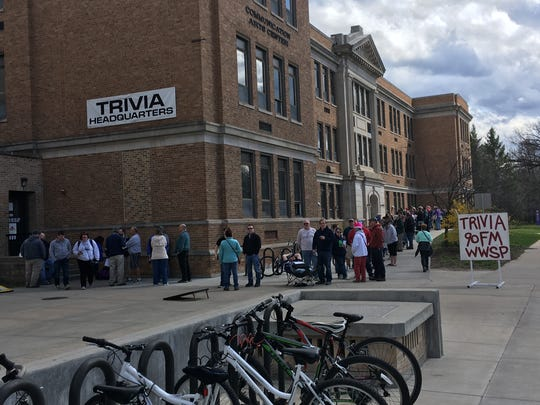 Players line up outside of the offices of WWSP 90FM on the University of Wisconsin-Stevens Point campus on April 17, 2017 to register for Trivia 48: The Royalty of Contests.