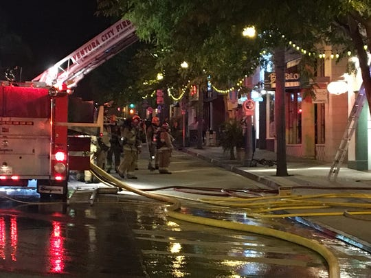 Crews battled a fire at a two-story building late Monday in downtown Ventura, officials said.