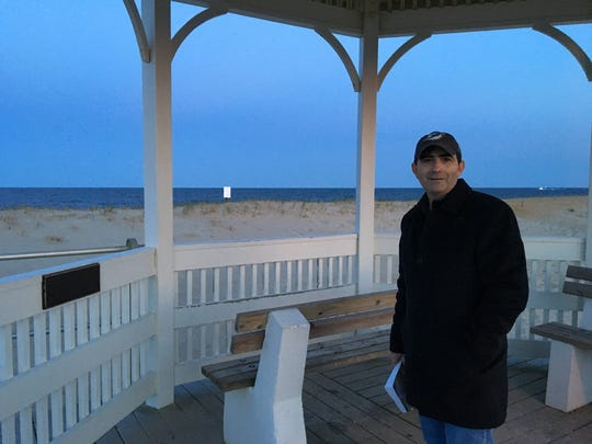 Vinnie Dicks stands at the spot along Sea Girt's boardwalk, across from Trenton Blvd., where Commodore Stockton's 'main beach house once stood.