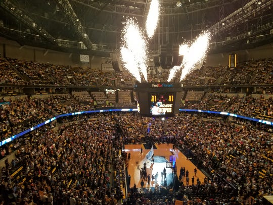 FedExForum during pregame introductions before Game