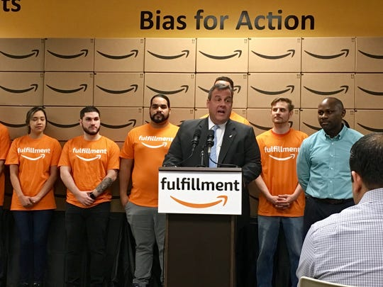 "Gov. Chris Christie, seen at the Amazon fulfillment center in Carteret in April, has said ""Newark is prime for Amazon's HQ2 development."""