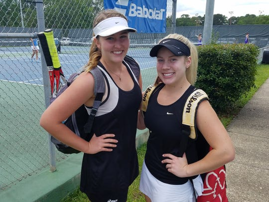 Pineville tennis players McKinsey Meeker (left) and Erika Myers will compete at the LHSAA tennis tournament in Monroe in the Division I girls singles bracket.