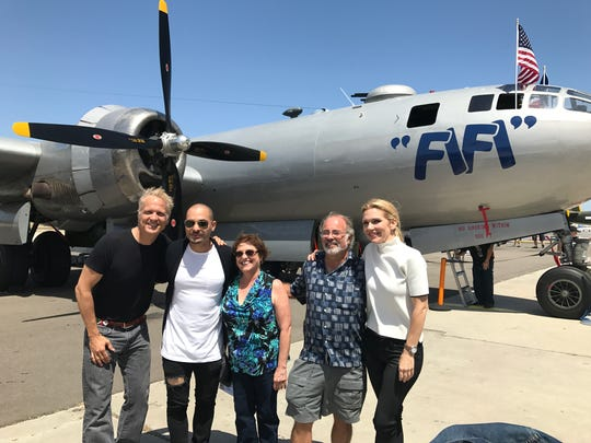 """Ventura residents Sandy La Rosa and Dave Levy, center, pose with """"Better Call Saul"""" cast members Patrick Fabian, Michael Mando and Rhea Seehorn."""