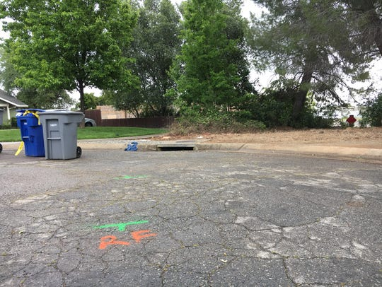 Redding police marked the area where a car came to