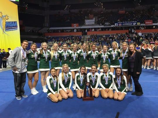 The Jupiter High School Warrior cheerleading team of