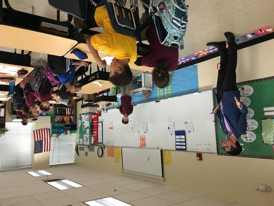 Sen. Sean Bowie talks to a third-grade class at Paragon