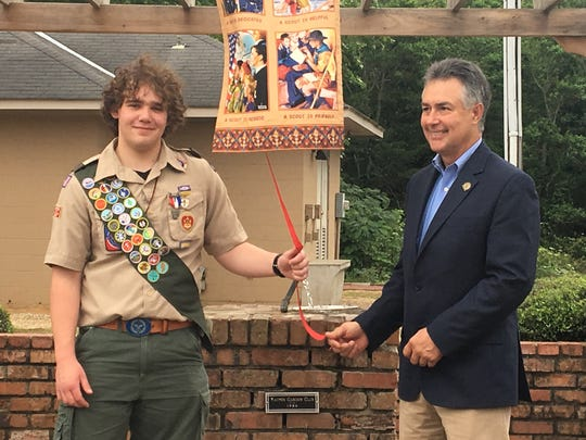 Prattville High School student, Holden McGwin earned his Eagle Scout rank on Sunday after completing his project to the city at Pratt Park. Mayor Bill Gillespie thanks him during a dedication ceremony.