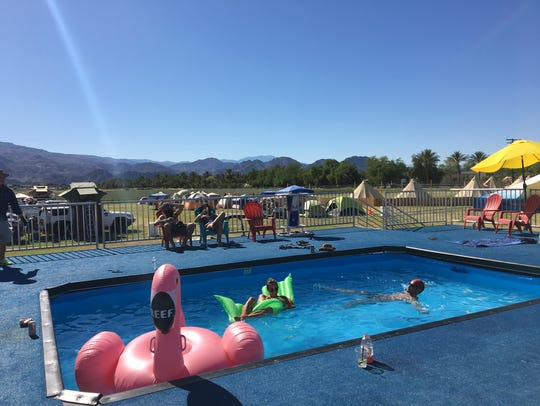 The pop-up pool at Base Camp, a pop-up camground open