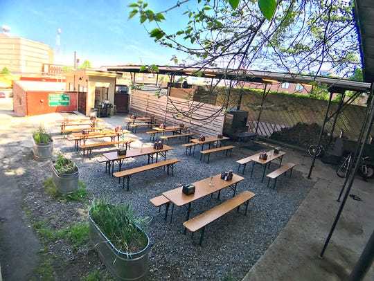 The beer garden at Sweet P's Barbeque and Downtown