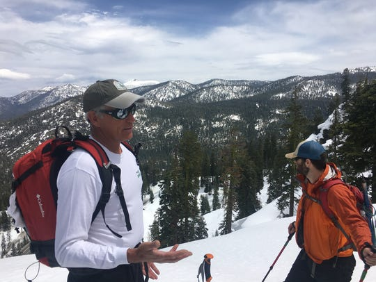 Snow safety course instructor Ned Tibbits of Reno,