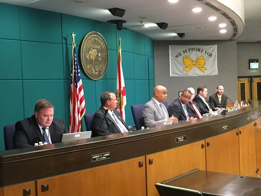 The scene of Thursday night's council meeting.