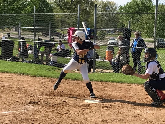 One of Schoolcraft's offensive sparkplugs at NJCAA regionals was Garden City alum Mikaela Smolar (batting).