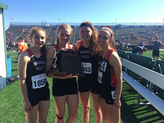 Brandon Valley sprint medley team. From left: Kennedy Nuebel, Tanya Tingle, Krista Bickley and Haylee Waterfall.