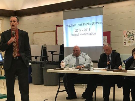 Eric Koenig, left, the former Ridgefield Park superintendent of schools, at a 2017 school board meeting.