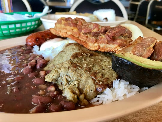 A closeup of the bandeja Paisa from Las Delicias.