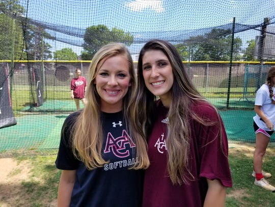 ACA pitchers Lacey Spear (left) and Haley Pittman